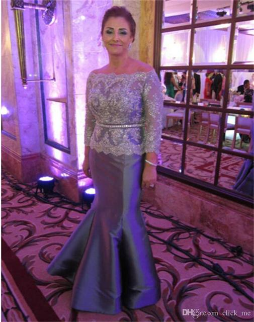Long Sleeve Mother Of The Bride Dresses Off Shoulder Lace Appliques Beads  Formal Evening Gowns Women Wear Taffeta Prom Dress 5cae75e6a2