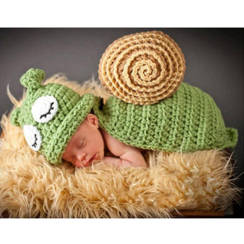 Baby Snail Photography Prop Newborn Girls Boys Birthday Party Knit Costume Kit newborn baby girls boys baseball crochet knit costume photography prop 0 4m