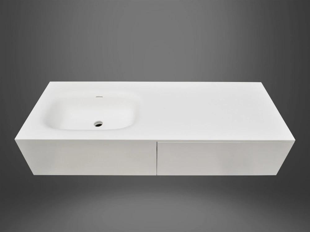 Bathroom Wall Hung Solid Surface Stone Vanity White Matt 1200 1500 1800 Sizes Rs38486 Bathroom Sinks Aliexpress