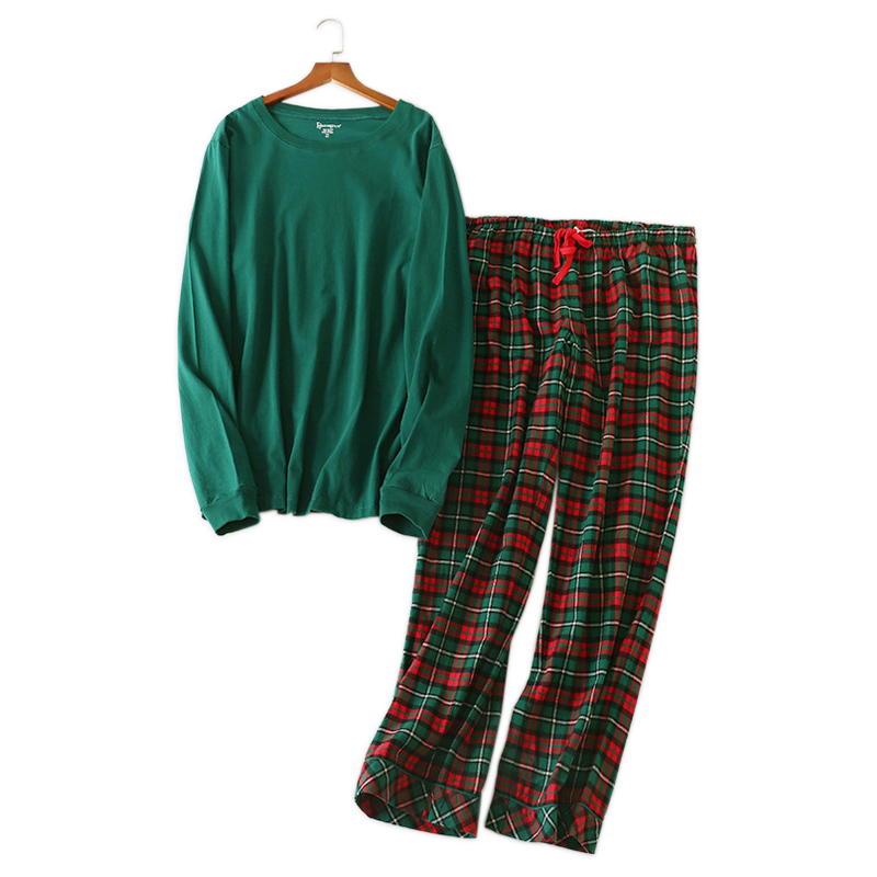 Women pyjamas Plus size 100% knit cotton   pajama     sets   for women Fresh green spring long sleeve casual sleepwear women