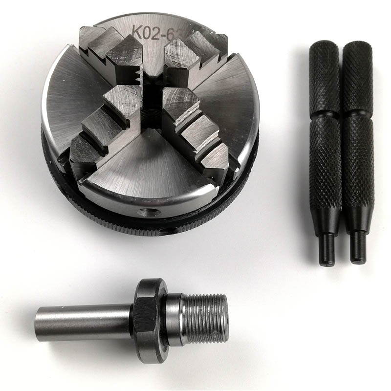 63mm Mini 4 Jaw Reversible Self Centering M14 Thread Mount Lathe Chuck With Lock Rods K02 63+Chuck connecting rod
