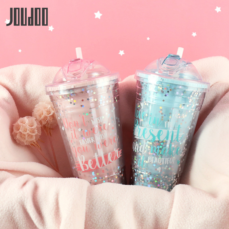JOUDOO Candy Color 420ML Water Bottle For Girls Cute Star Sequin Double Pink Drinking Bottles With Straw 57