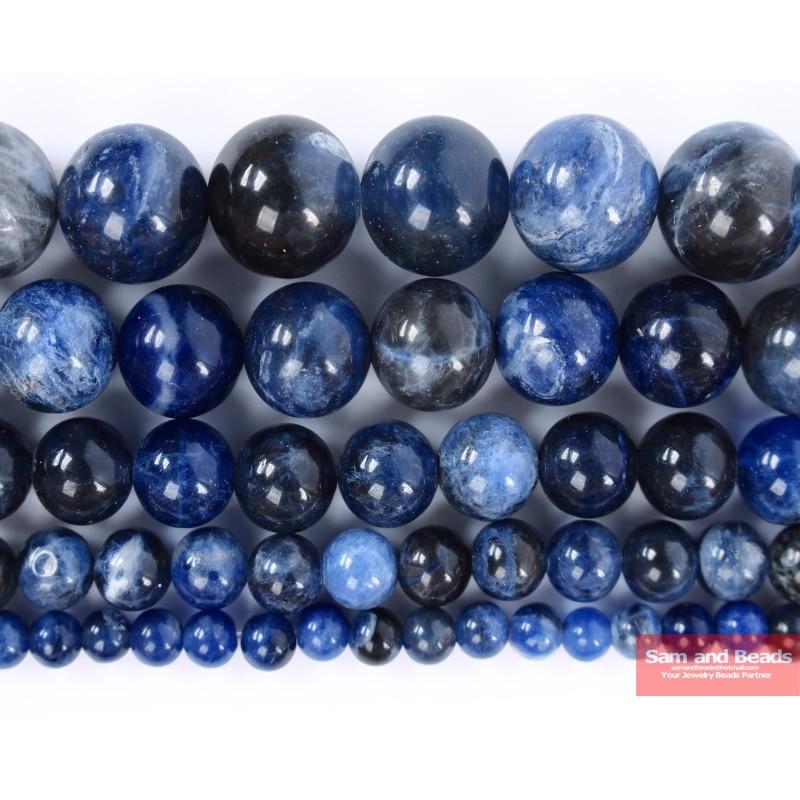 Бесплатная доставка, темно-синие Бусины содалита из натурального камня для изготовления ювелирных украшений, нитка 15 дюймов, 4, 6, 8, 10, 12 мм, ра...