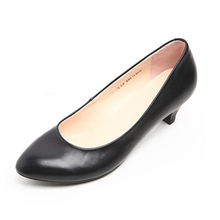 Spring and autumn real leather work black professional low heel shoes with working clothes interview the stewardess