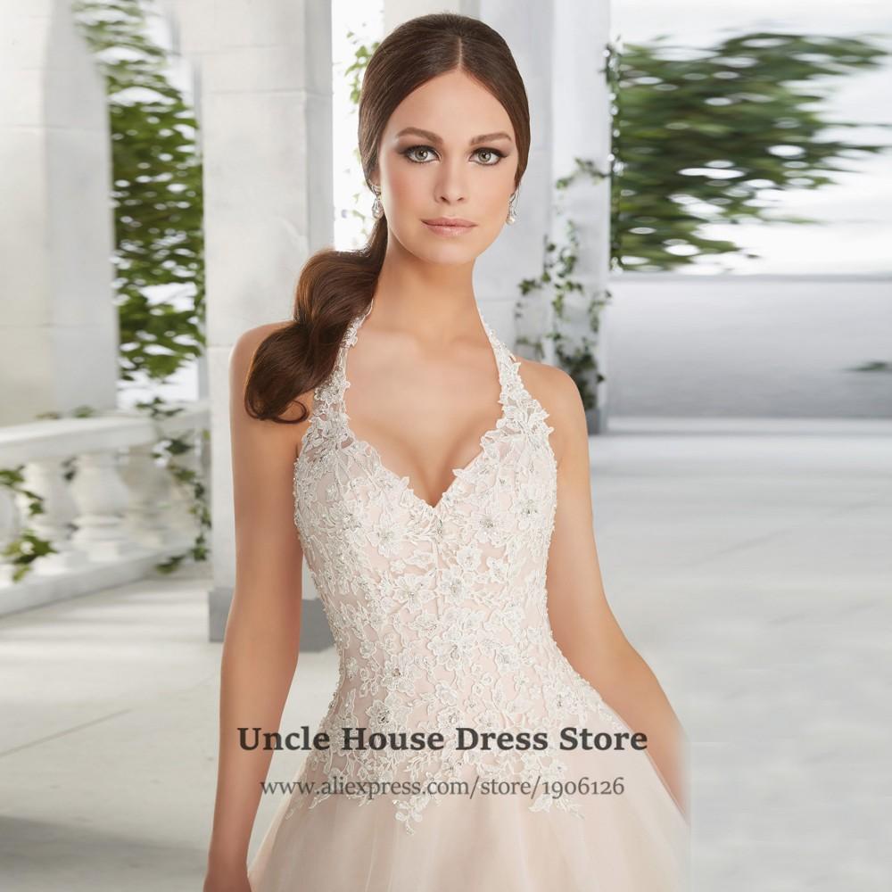 Halter Top Wedding Dresses Plus Size Bridal Gown Champagne ...