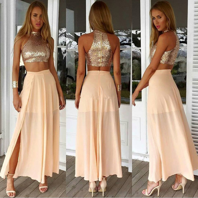 c72ae98b66d6a Two Piece Peach Chiffon Prom Dresses 2017 New High Neck Sleeveless Sequin  Bodice Evening Dress For