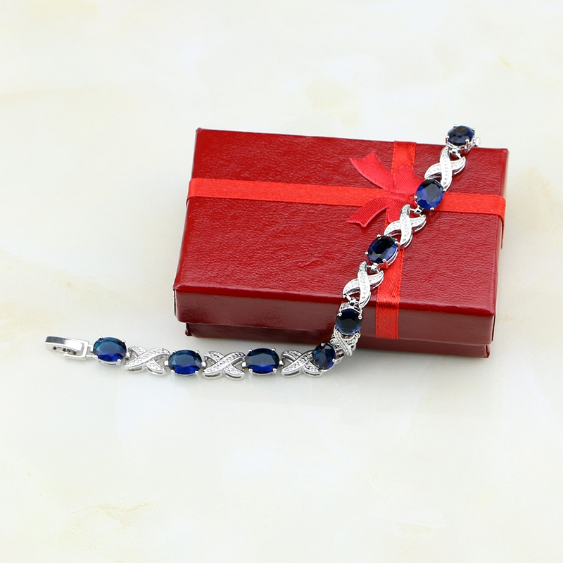 Oval Blue Cubic Zirconia X Shaped Charm Bracelet 925 Sterling Silver Chain Link Bracelet V