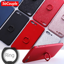 SoCouple Ring Grip Phone Case For iphone 7 6 6S 8 plus 8 5 5s SE Hard PC Matte Case Cover with Ring Holder For iphone X(China)