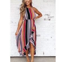 yashangyi Striped Women Dress Summer Beach Long Dresses Sexy Irregular Ruffles Hem Ladies Sundress Maxi Strap Girl Dress Vestido