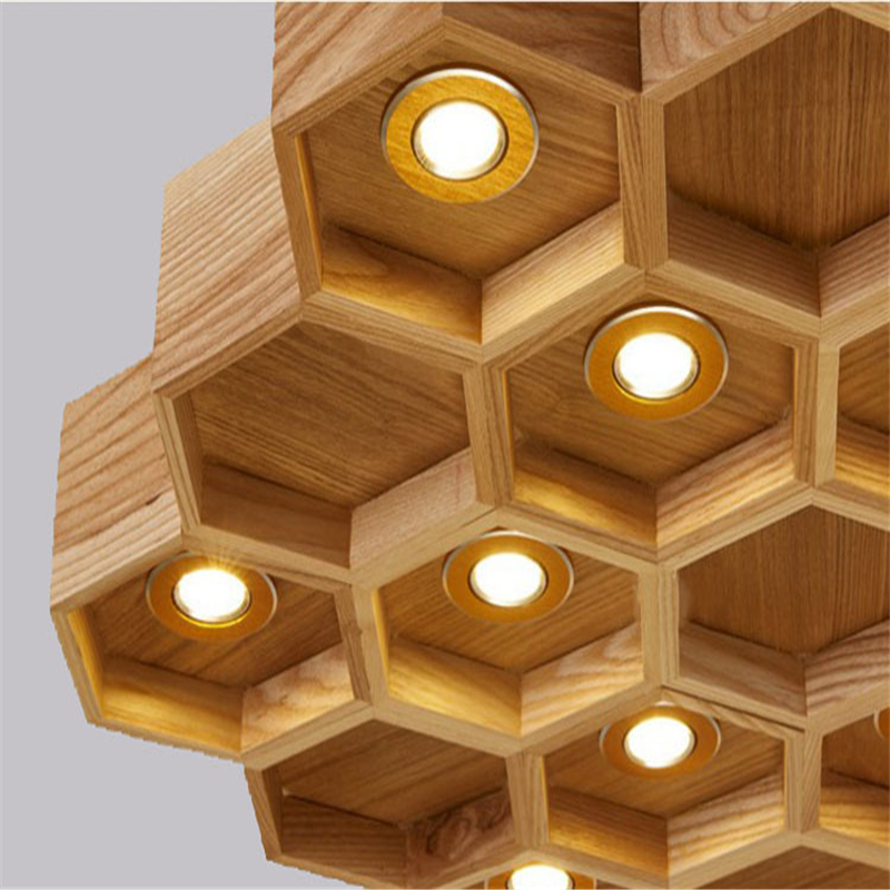 Modern Led Wood Honeycomb Pendant Lamps Nordic Creativehanging Lights For Indoor Dining Room Home Decoration Remote Switch