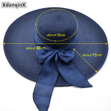 2017 Summer Adult Woman Bow Sun Hats Sunset Foldable Fashion Casual Beach Hat Big Canopy Wind Rope Fixed Sunscreen UV Grass Hat cool summer knotted rope casual holiday travelling sunscreen sun hat for women
