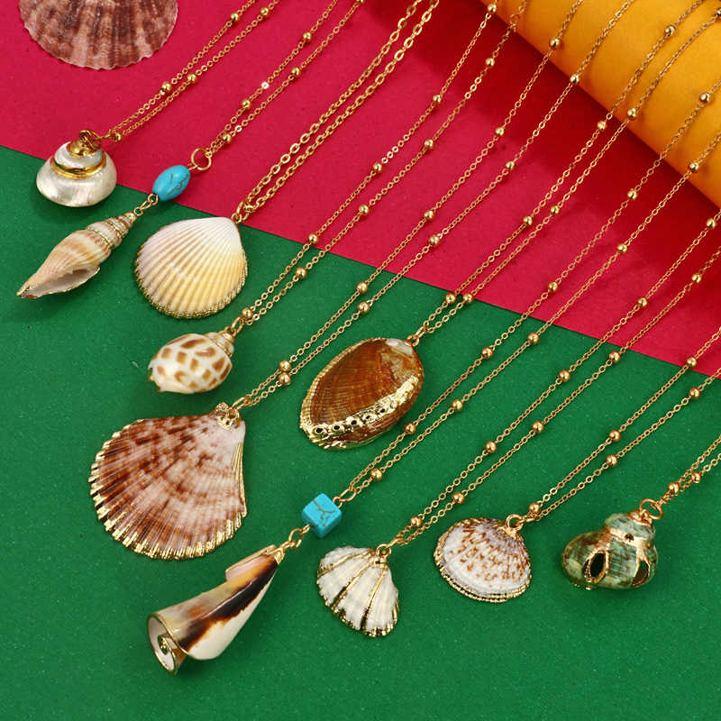 Hesiod Multilayer Shell Pendant Necklace Natural Shell Gold Cowrie Women Best Friend Cowry Seashell Necklace Bohemia Jewelry