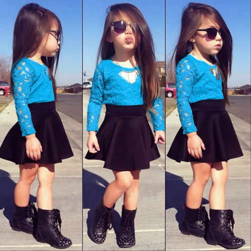 2015 New Kids Baby Girls Long Sleeve Lace Tops + Skirt Clothes Set 2pcs Set Outfits Free shipping