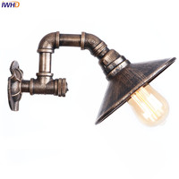 IWHD Brown Retro Wandlamp Iron Water Pipe Loft LED Wall Lamp Vintage Fixtures Home Bathroom Light Simple RH Bedside Living Room