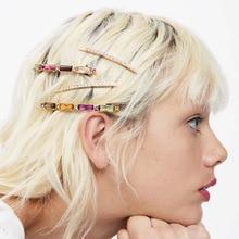 1SET Korea Fashion Colorful Crystal Hairpins Hair ClipsAcrylic diamond inser Gold Rhinestones Hairgrip Accessories Jewelry