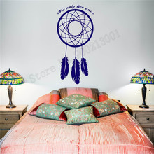 Wall Decoration We Only Live Once Dreamcatcher Room Sticker Vinyl Art Removeable Poster Beauty Decal Modern Ornament LY599