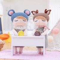 METOO Angela Dolls Plush Toys Rag Girl Doll Wear Pattern Skirt Stuffed Gift Toys For Kids Children 13*5