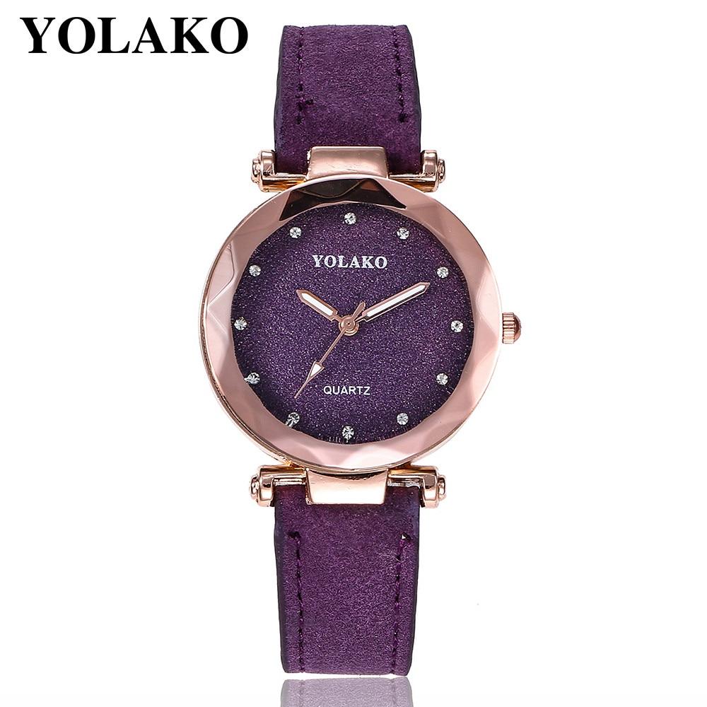 YOLAKO Women's Casual Quartz Leather Band Starry Sky Watch Analog Wrist Watch Purple Femal Clock Hot Gift Dress reloj mujer A10