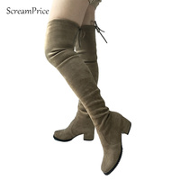 Womens Micro Suede Thigh High Boots Flat Comfy Sexy Slouchy Stretch Over The Knee Boots 2016