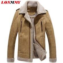 LONMMY 4XL Fur collar jacket men coats Slim Plus velvet thicker liner windbreakers Outerwear mens jackets and coats 2018 Winter