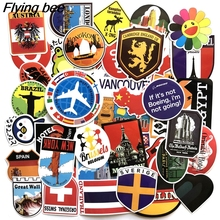 Flyingbee 40 Pcs Travel Maps Funny Stickers for Luggage Laptop Guitar DIY Wall Car Scrapbooking Sticker Waterproof Sticker X0106