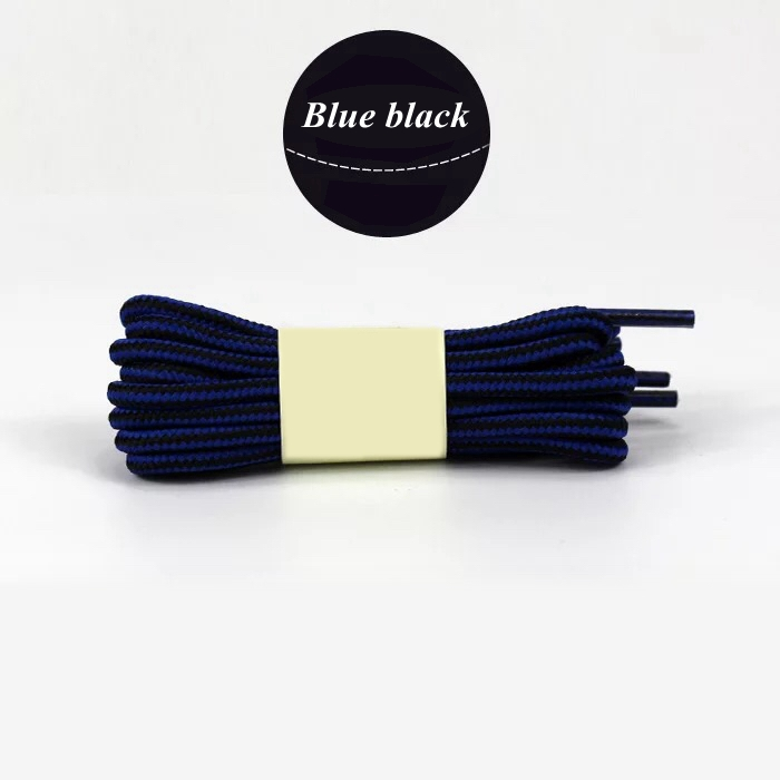 1 пара колготок в полоску двойной Цвет шнурки ботинки на открытом воздухе спортивные шнурки хлопок Круглые Шнурки 18 Цвета Длина 70 см, 90 см, 120 см 150 см - Цвет: Blue black