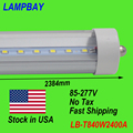 (75-Pack) Free Shipping LED Tube light 8ft 2.4m Single pin FA8 40W 85-277V T8 bulb Cold White Clear cover Stock in USA NO Tax