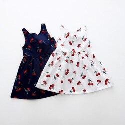 Одежда для девочек, летнее платье для девочек, детское платье с вишней, платье с V-образным вырезом на спине, детское Хлопковое платье без рук...