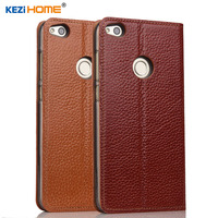 Case For Huawei Honor 8 Lite KEZiHOME Genuine Leather Flip Stand Leather Cover For Honor 8