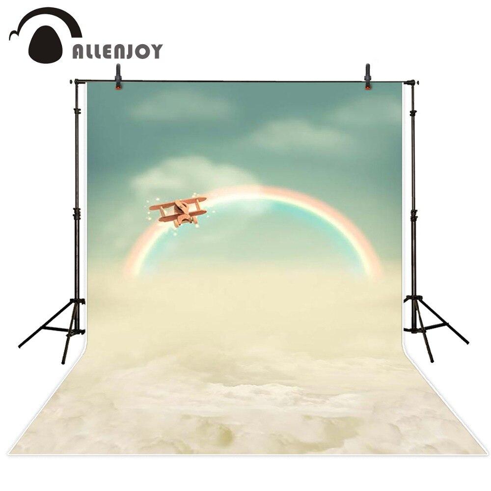 Photography background Blue sky rainbow wood airplane princess boy vinyl digital Allenjoy backdrops blue sky чаша северный олень