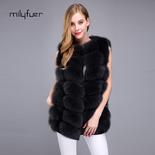 Milyfuer Natural Fox Fur Vest 70cm Women Solid coats Full Pelt Autumn Winter Warm Thick Sleeveless Coat Female Real Fox Fur Vest