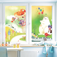 4Y4A Kindergarten Glass Stickers Decorative Window Stickers Transparent Glass Electrostatic Stickers PVC No Glue
