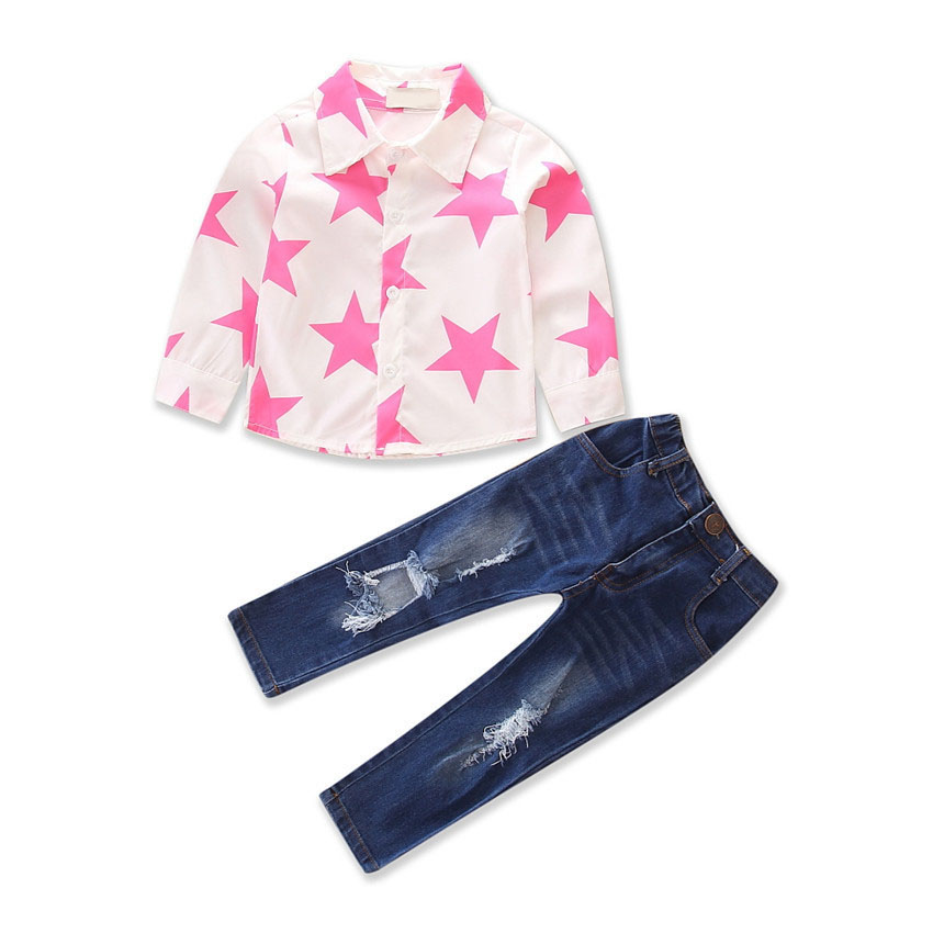 2Piece Spring Autumn Girls Outfits For Kids Fashion Clothes Long Sleeve Baby T-shirt+Hole Jeans Children Clothing Sets BC1747-1 2