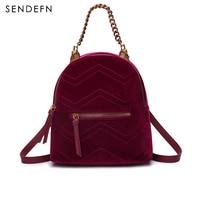 Sendefn Fashion Velvet Backpack Classical Black Backpack Female Quality Velour School Bag Small Vintage Red Backpack