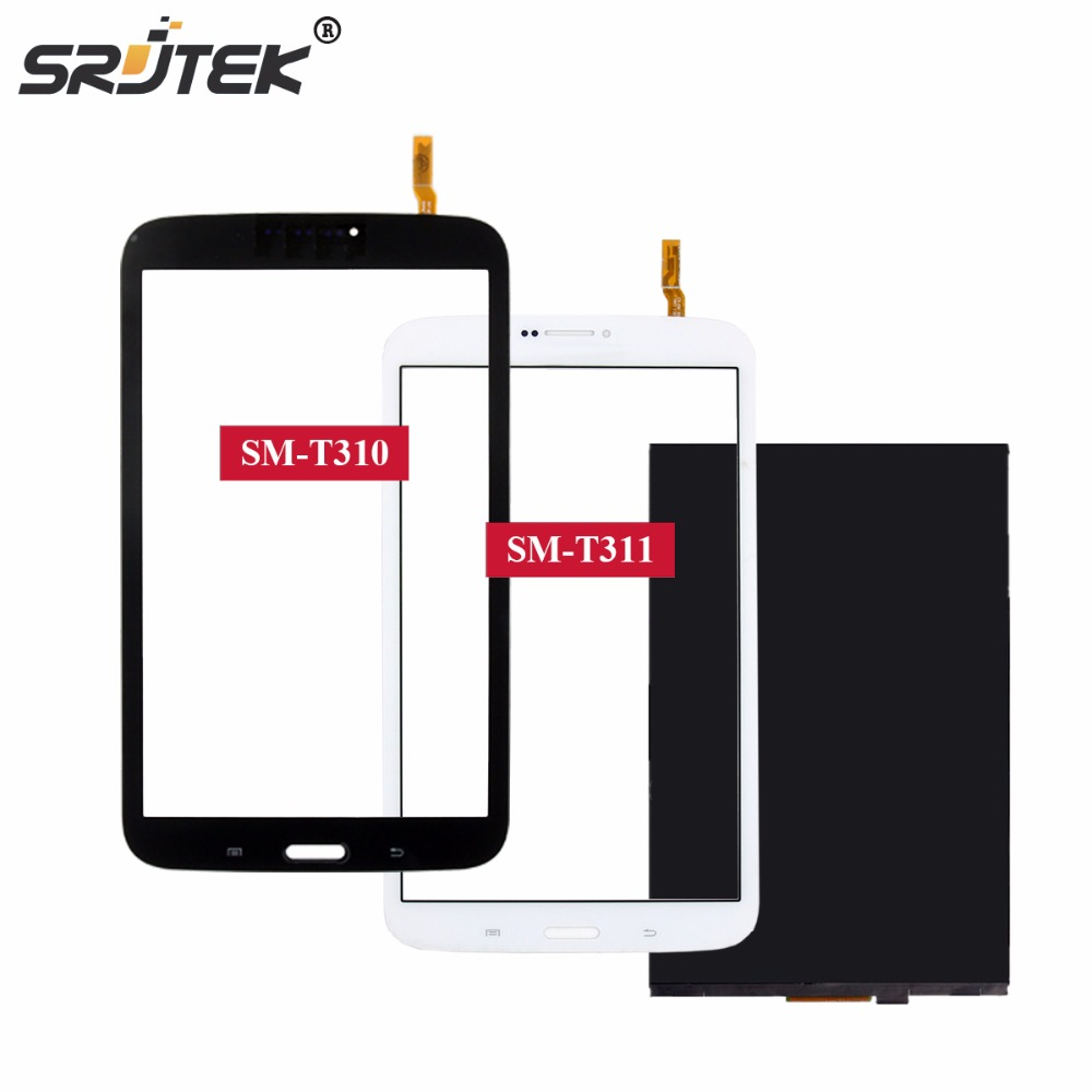 Srjtek 8 Screen Parts For Samsung Galaxy Tab 3 8.0 T310 T311 SM-T310 SM-T311 LCD Display Matrix Touch Screen Digitizer Sensor original 8 lcd sx080gt14 hrx k800wl2 s080b02v16 hf yp1338 20 sm t310 sm t311 sm t315 t311 t310 tablet pc display matrix screen