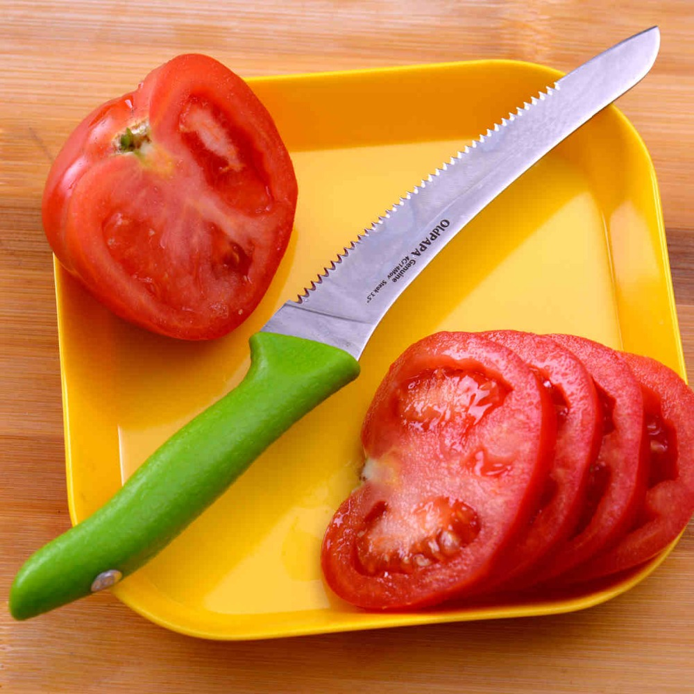 Free Shipping OldPaPa Kitchen Stainless Steel Drain Juice Lemon Baked Tomato Fruit Knife Bread Steak Saw Knives Military Quality