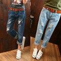 2016 moda feminina solto confortável buraco em jeans/verão das Mulheres outono magro calças haroun/cowboy perna fina calças