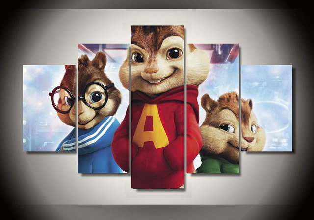 Incorniciato Stampato Alvin And The Chipmunks Gruppo Pittura Room