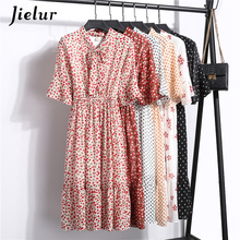 Jielur Chiffon Floral Dresses Women Summer Lace-up V-neck Half Flare Sleeved Elastic Sweet Dress Korean A-line Sundress Vestido