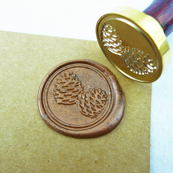 pine cones /Nut Acorn Wax Seal Stamp/Sealing Wax Seal/pinecone Fall Stamp ws041