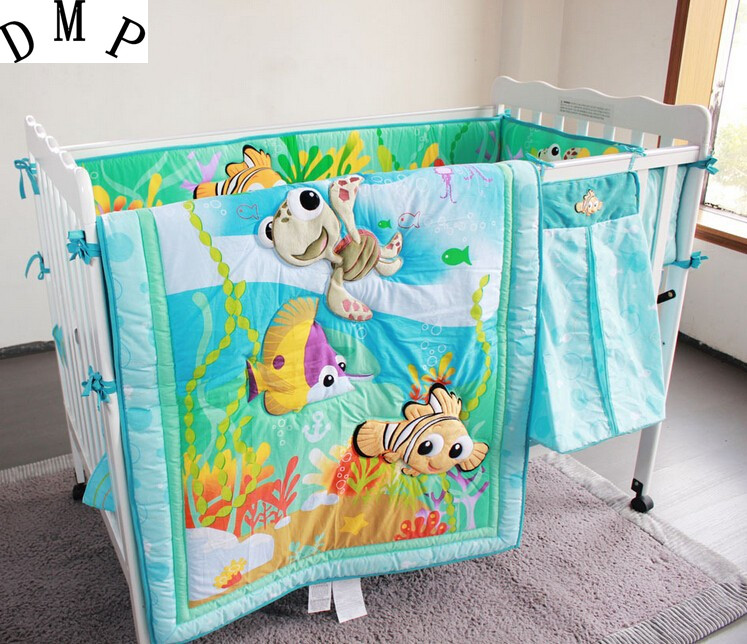 Promotion! 7PCS Embroidery Ocean Baby Bedding Set Newborn Infant Cartoon Crib Bedding ,include(bumper+duvet+bed Cover+bed Skirt)
