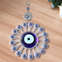 Turkish Evil Blue Eye Glass L28CM Flower Charm Wall Hanging Amulet Nazar Boncuk Home Decoration Office