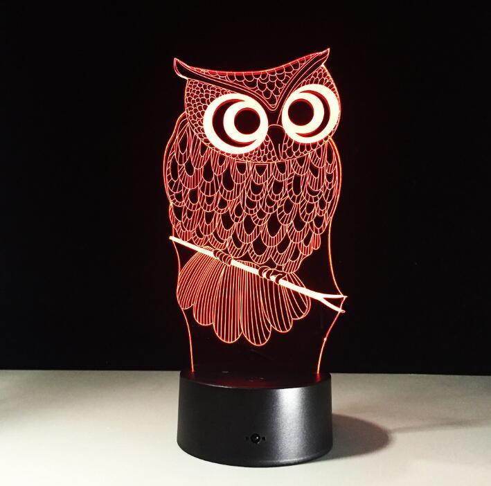 Cartoon Owl Light 3D LED Animal Night Light RGB Changeable Lamp Child Kids Baby Soft Lights Bedroom Decoration Lighting