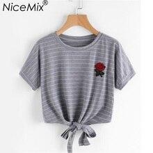 NiceMix 2019 Summer Harajuku Crop Top Women Rose Embroidery Cotton Tops T Shirt Casual Short Sleeve Lacing Cropped T-shirt