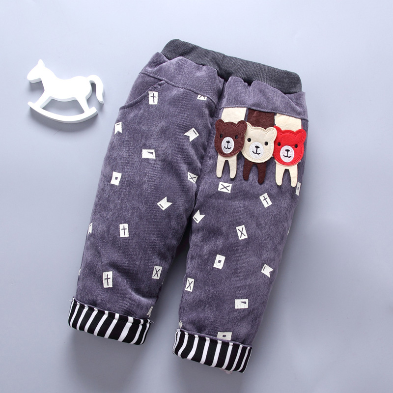 baby pants for Boy girl 2017 Boys warm cotton thick winter Fashion Cartoon Clothes children trousers Teen kids fleece pants 3T sosocoer boys jeans kids clothes winter thick warm boy cowboy pants high quality girls trousers fashion casual children costume