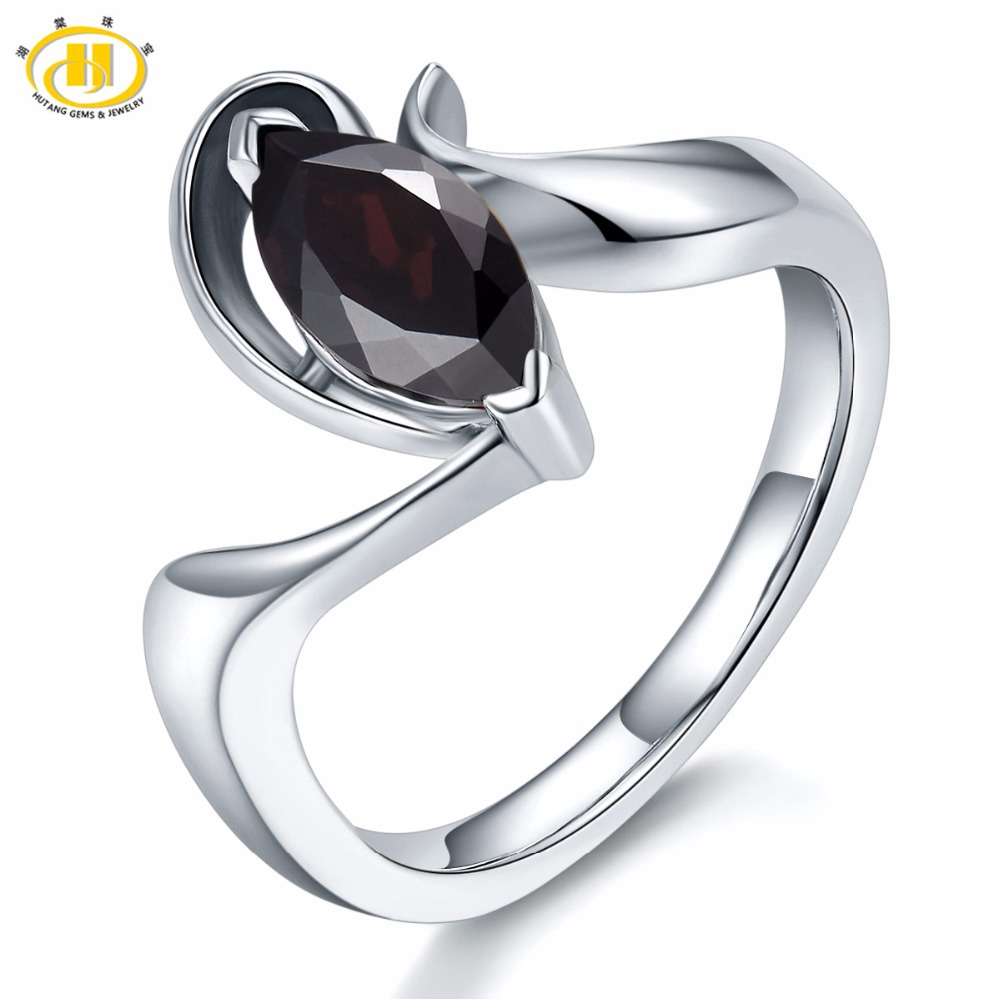Hutang 1.2Ct Mystery Black Garnet Rings Solid 925 Sterling Silver Ring Natural Marquise Cut Gemstone Fine Jewelry For Women Gift