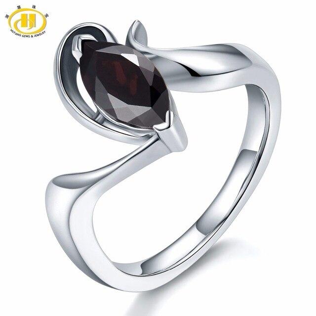 3ae4ee897873 Hutang 1.2Ct misterio negro anillos de granate de plata esterlina 925 anillo  Marquesa corte de piedras preciosas joyería fina para el regalo de las  mujeres