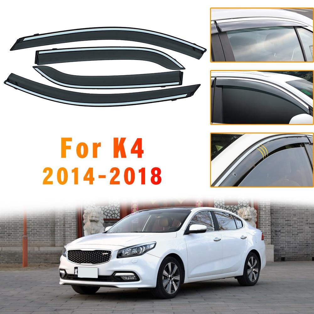 Window Visor For KIA K4 2014-2018 side CHROME Strips window deflectors rain guards  Accessories  2015 2016 2017