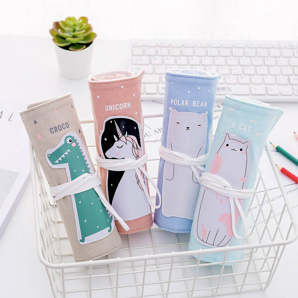 1 pièces mignon rouleau sac cosmétique lin Kawaii dessin animé Crocodile licorne sac à crayons étui pour les étudiantes Portable maquillage