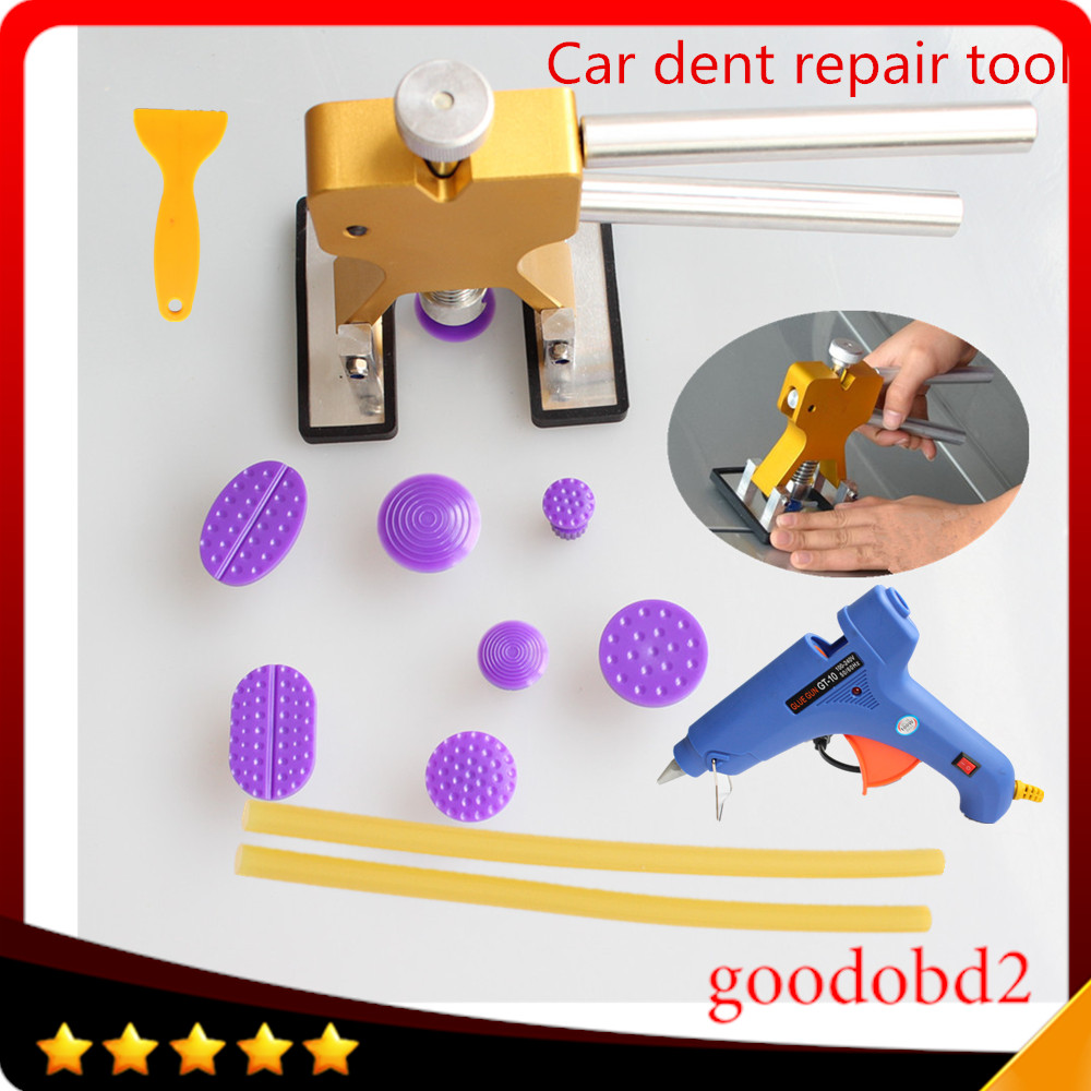 Car PDR dent TOOL Removal Glue Tab 8x with Rubber hammer car Repair Tabs Paintless Dent Remover Tools+glue gun 100W glue sticks